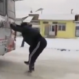 Russian man rides bus for free by clinging on to back. Meanwhile, in Russia this is how you hitch a bus ride, only in Russia! Winter is over…