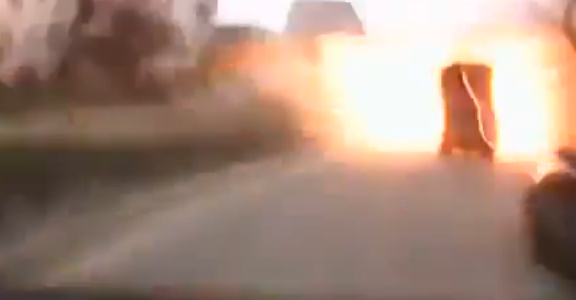 Dashcam captures missile attack against Mariupol Civilians. Terrifying dashcam footage of the moment when Mariupol was being shelled.