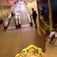 A 17-year old motorcyclist riding through a shopping mall in Tarnów, Poland. Idiot on a motorcycle in the shopping center.