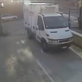 Parking Brake Fail In Italy. A truck driver forgot to set the parking brake! Truck's parking brake fails and rolls into traffic, barely missing other vehicles.