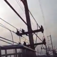 Video from Thailand shows pedestrian bridge built around overhead cables. Ironic how the bridge was put there for public safety. A pedestrian bridge build so close to electrical wires…