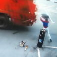 Garbage bag throw fail. When this man tries to throw his garbage into the dumpster, he fails miserably. Throwing trash in a garbage truck as it passes…