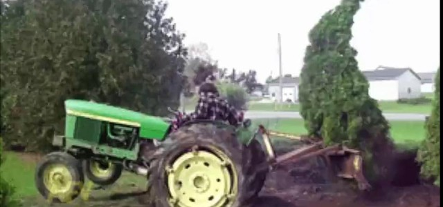 Tractor driver gets repeatedly smacked by tree. Watch this tree slap the piss out of the driver as he tries to pull it from the ground with his tractor. Hilarious!