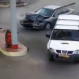Car slams into gas pump after accident. A car was struck by another vehicle and crashed into a fuel pump at gas station, caught on CCTV. Security camera is filming […]