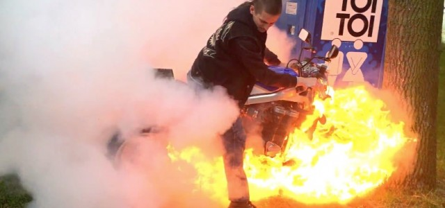 Biggest Motorcycle Burnout Fail From Poland. In this burnout from Poland something goes really wrong.