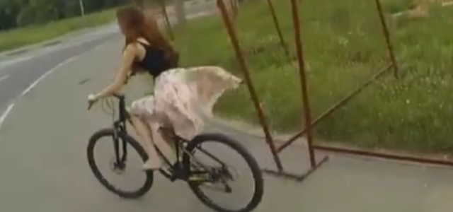 Russian girl loses her skirt while riding a bicycle… Don't Ride A Bike In A Skirt!