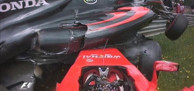 Fernando Alonso and Kimi Räikkönen involved in scary first-lap accident. Fernando Alonso said his dramatic first-lap crash with Kimi Raikkonen was caused by the Ferrari driver losing control.