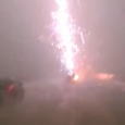 Truck gets hit by lightning. The whole incident was caught on camera.