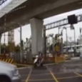 Train's extreme near-miss with car at level crossing. Incredible dashcam footage of a near miss between a train and a car in Taiwan.