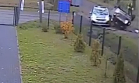 Car crash with pedestrian caught on CCTV. Then a car crashed and rolled over with police car. Luckily no one was seriously injured after a car rolls over after losing […]