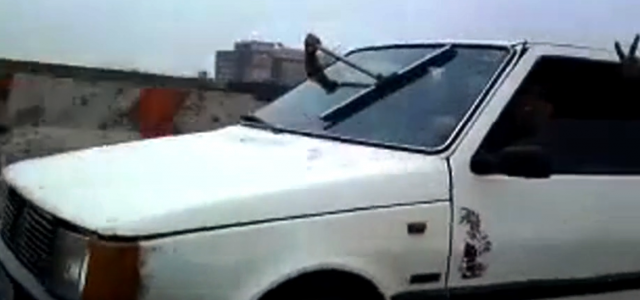 Funny video compilation of a very unusual way to clean your car windshield, when the wipers don't work! Funny way to handle having broken windshield wipers.